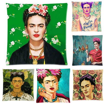 Cushion Cover Frida Kahlo Pillow Case Firm Flower self-portrait Sofa Butterfly Bedroom Home Decorative Throw Pillow Cover