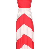Coral and White Color Block Maxi Dress