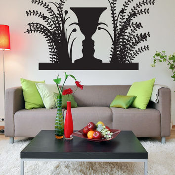 Vinyl Wall Decal Sticker Optical Illusion Vase and Faces #OS_DC780