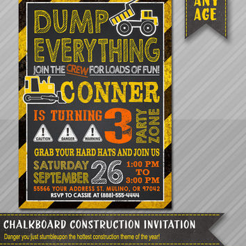 Printable CONSTRUCTION INVITATION - Construction BIRTHDAY Invitation - Dump Truck Invitation - Construction - Little Worker Invite