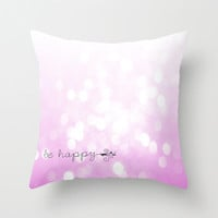 Pink Glitter Be Happy Throw Pillow Cover nursery bedding 16x16 bokeh Home Decor