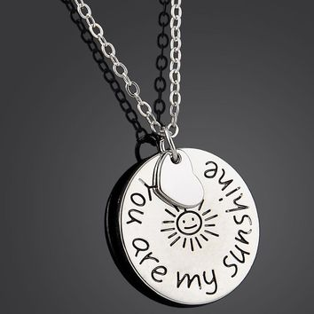 you are my sunshine Round tag alloy letter necklace