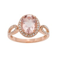 14k Rose Gold Over Silver Morganite Triplet & Lab-Created White Sapphire Oval Halo Ring (Pink)