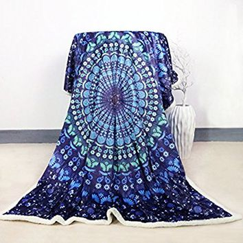 Sleepwish Sherpa Blanket 50x60 Blue Mandala Fuzzy Blanket Sherpa Throw Blankets for Bed or Couch