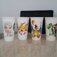 Hand Drawn Starbucks Reusable Cups; Your choice of character