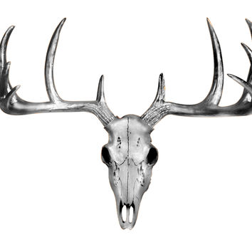 The MINI Silver Faux Taxidermy Resin Deer Head Skull Wall Mount | Metallic Silver Deer Head Skull