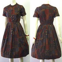 1950s Lucy Style Black Cotton Day Dress