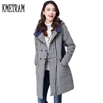 Plaid Retro Women Winter Jackets 2017 New Arrival Vintage Cotton Padded Thicken Warm Coat And Jackets Hooded Female Parka GQ1579