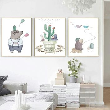 SURE LIFE Leisurely Happy Bear Balloon Cactus Canvas Painting Nursery Nordic Poster Print Wall Art Pictures Kids Room Home Decor