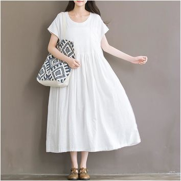 2016 Summer New Arts style Womens Casual Long Dress Vintage cotton linen Maxi Dress large size Ladies Brand Clothing Vestidos X6