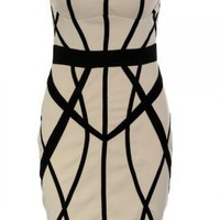 Stone Sweetheart Bodycon Dress with Contrast Stripe Pattern