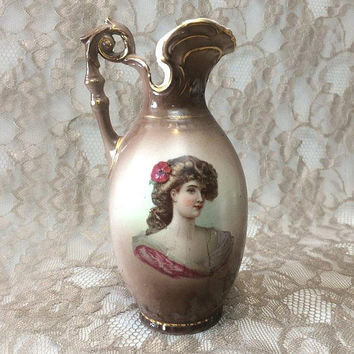 "Austrian Victorian Lady Portrait Ewer Vase, 6"" Brown Porcelain Pitcher with Gold Trim"