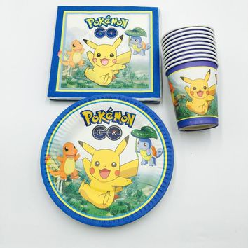 60pcs/lot  Go disposable party set  Go dishes cups napkins 20people use  Go party suppliesKawaii Pokemon go  AT_89_9