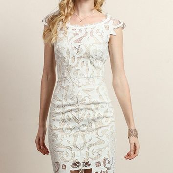 Glitz Lace Dress - White