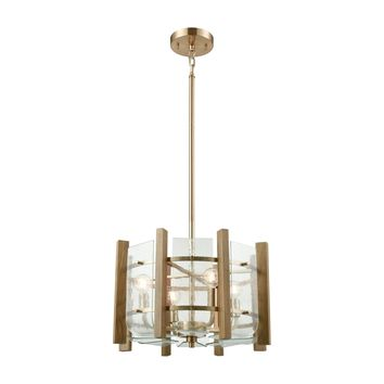 32333/4 Vindalia 4 Light Chandelier In Satin Brass With Wood Slats And Curved Glass - Free Shipping!