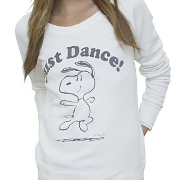 Snoopy Just Dance Off the Shoulder Fleece - Women's Tops - Long Sleeve - Junk Food Clothing