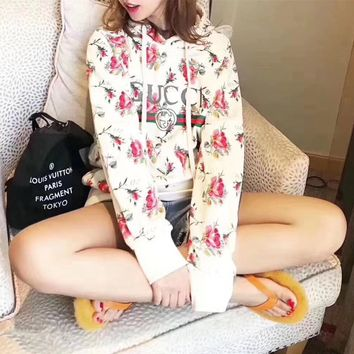 """Gucci"" Women Casual Flower Letter Print Hooded Long Sleeve Pullover Sweater Tops"