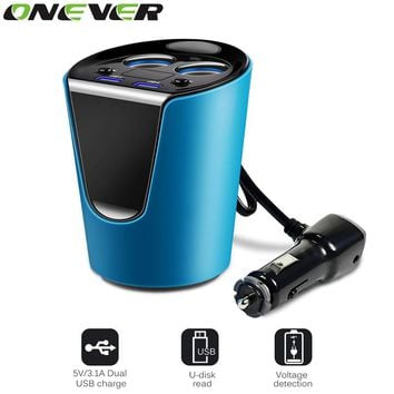Onever Electronic Cigarette Lighter Coupler Car Cup Holder 12-24V 3.1A Dual USB Car Charger Adaptor With Voltage Current Display