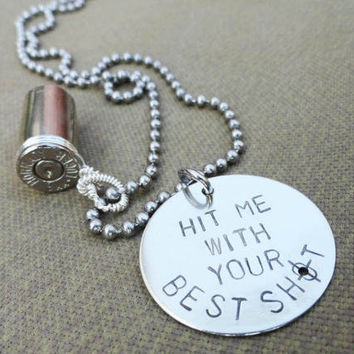 "Silver Bullet Necklace - ""Hit Me with Your Best Shot"""