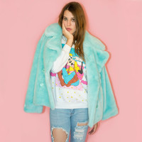 Vintage Baby Blue Fur Coat Chubby Faux Fur Light Blue Pastel Oversized L 90s Rave Club Grunge Deadstock with Tags
