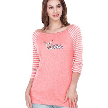 Yoga Clothing For You Yoga Spelling Striped Contrast 3/4 Sleeve Yoga Tee Shirt
