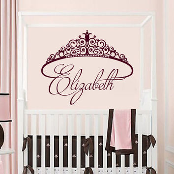 Crown Girls Wall Decals Custom Name Sticker Princess Vinyl Nursery Decor SM187