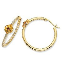 Gold-plated Sterling Silver Sim.Ruby & Yell/Wht CZ Hoop Earrings