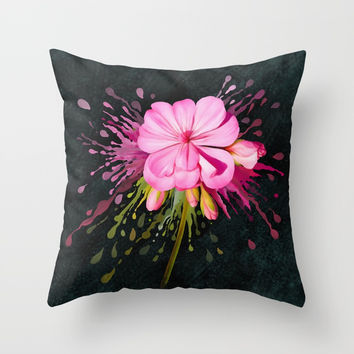 Color Eruption On Distressed Dark Throw Pillow by IvaW