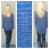 Navy V-Neck Knit Sweater Top