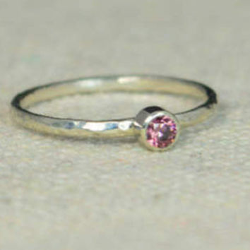 Classic Sterling Silver CZ Alexandrite Ring