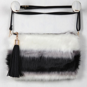 Faux Fur Striped Crossbody Bag