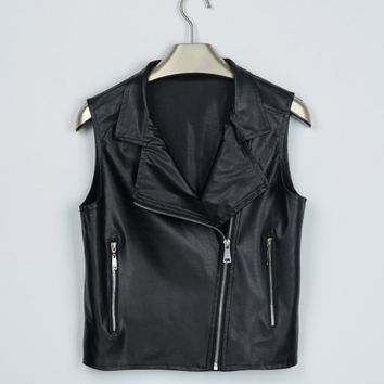 Women Leather Vest Jackets Short Coats Female Sleeveless Motorcycle Leather Jacket Casual Tops Locomotive Short Vest Coats