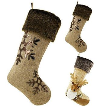 "21"" Woodland Collection Burlap Christmas Stocking"
