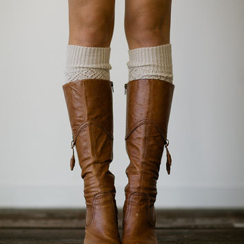 Oatmeal Knitted Leg Warmer or Boot Topper with Open Lace Knit and Vintage Scalloped Lace Trim for Women and Girls in Oatmeal LW3-05