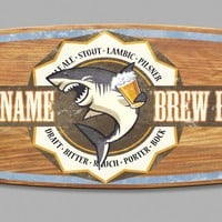 Your Name Brew House Surfboard Sign w/ Shark Bite (8913) - Illuminada