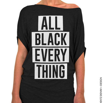 All Black Everything Shirt - Black with White Longer Length Slouchy Tee (Small - Plus Sizes)