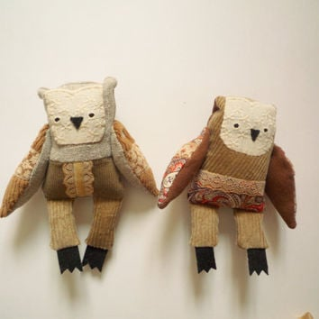 Owl Mystery Bag Grab Bag ,  2  little owls, soft art toys by Wassupbrothers