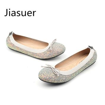 Jiasuer Spring Summer sequins single bow round head flat shoes for women's shoes lighter comfortable big yards casual shoes