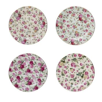 Gracie China Rose Chintz Porcelain Dessert Plates 8-Inch Set of 4 Assorted with Gold Trim