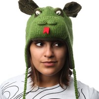 DeLux Green Dragon Wool Pilot Animal Cap/Hat with Ear Flaps and Poms