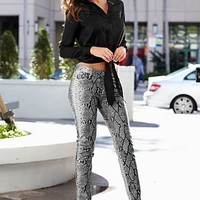 Tie front blouse, faux leather pants from VENUS