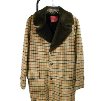 1970s Anderson Little Plaid Wool Fur Lined Heavy Coat - Timme Tuft Alpaca Pile - Size 40 Regular
