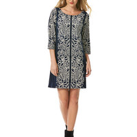 Laundry By Shelli Segal Paneled Inverted Border Print Dress