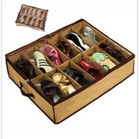 New 12 pairs Shoe Boot Storage Boxes Trainers Organizers Foldable Under Bed Clean Shoebox  Household (Size: 64cm by 55cm, Color: Beige) = 1945837444