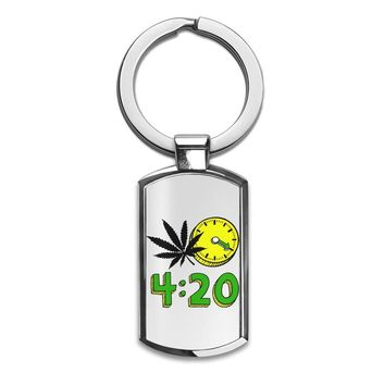 420 Cannabis Weed Leaf Design  Premium Stainless Steel Key Ring| Enjoy A Unique  & Personalized Key Hanger To Carry Your Keys W/ Style| Custom Quality Prints| Household Souvenirs By Styleart