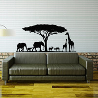 African Safari Wall Decal Jungle Wild Animals Wall Stickers- African Safari Tree Animals Decal Nursery Living Room Bedroom Home Decor 0062