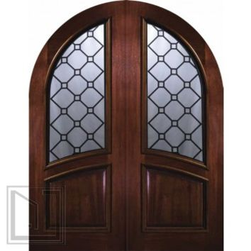 Prehung Entry Double Door 96 Mahogany Casablanca Round Top Glass