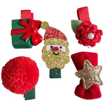 Baby Girls Gold Father Christmas Hair Clips Glitter Red Bow Flower Hair Accessories Barrettes Kids Children Birthday Hairpins