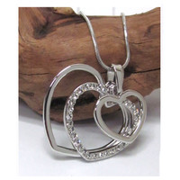 Beautiful Eye Catching Crystal Accented Triple Heart Pendant Necklace