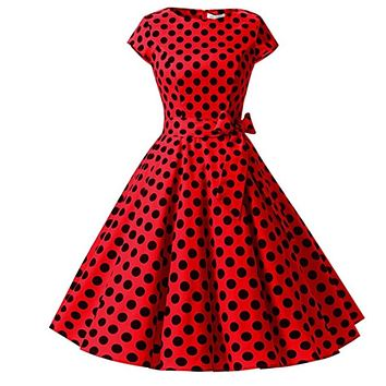 1950s Inspired Retro Rockabilly Cap-Sleeve Dress, Red with Large Black Polka Dots, Sizes XS - 3XL